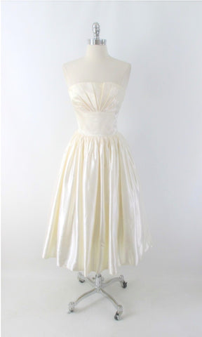 Vintage 80s Gunne Sax 50s Inspired White Satin Party Dress XS