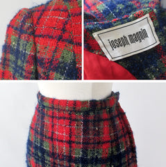 Vintage 60s Joseph Magnin Plaid Wool 3 Piece Suit S
