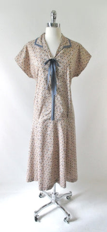 Vintage 20's 30's Style Flour Sack Ditzy Calico Day Dress XL