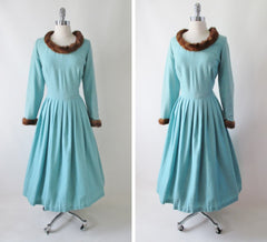 Vintage 50's Mink Trimmed Aquamarine Wool Fit & Flare Dress XL 1X Plus - Bombshell Bettys Vintage