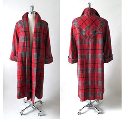 Vintage 50's  Red White Blue Victory Plaid Swing Coat M L - Bombshell Bettys Vintage