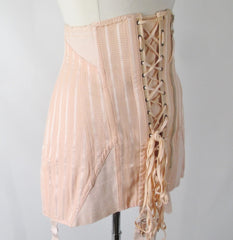 Vintage 40s Spencer Peach Stripe Corset Laced Girdle / Foundation Garment - Bombshell Bettys Vintage