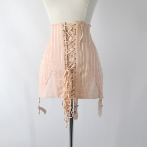 Vintage 40s Spencer Peach Stripe Corset Laced Girdle / Foundation Garment