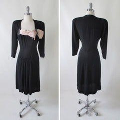 R E S E R V E D Vintage 40's Black Beaded & Peach Satin Bow Party Dress M - Bombshell Bettys Vintage