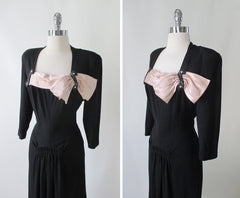 Vintage 40's Black Beaded & Peach Satin Bow Party Dress M - Bombshell Bettys Vintage