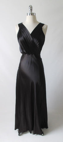 Vintage 40's Black Duchess Satin Evening Gown M