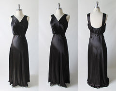 Vintage 40's Black Duchess Satin Evening Gown M - Bombshell Bettys Vintage