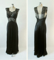 Vintage 40's Artemis Black Satin Sheer Lace Nightgown 34 - Bombshell Bettys Vintage