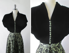 Vintage 40's Black & Apple Green Lace Evening Dress L - Bombshell Bettys Vintage