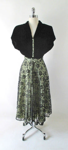 Vintage 40's Black & Apple Green Lace Evening Dress L