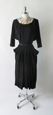 Vintage 40's Beaded White Satin Collar Black Rayon Dress L