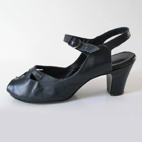 Vintage 40's Navy Blue Peep Toe Casual Day Heels Shoes 8.5 W