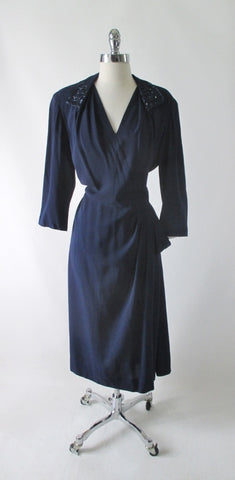 Vintage 40's Navy Blue Beaded Evening Dress L / XL