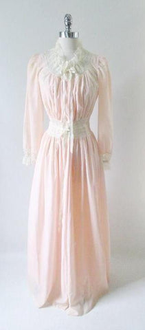 Vintage 40's 50's Peach & Lace Peignoir Robe Night Gown Set XS / S