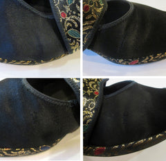 Vintage 40s Black Satin & Gold Brocade Slingback Wedge Slippers / Shoes 8 - Bombshell Bettys Vintage