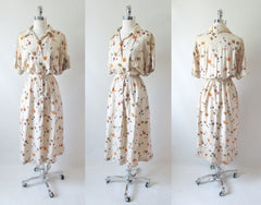 Vintage 40's Silk Angelfish Novelty Print Hawaiian Dress L - Bombshell Bettys Vintage