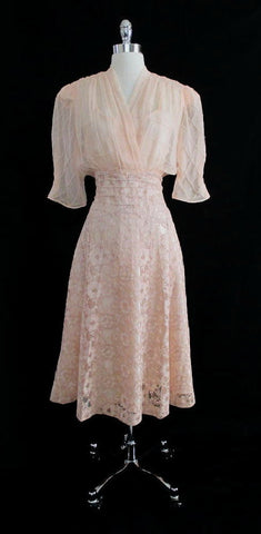 Vintage 40's Peach Lace Sheer Silk Chiffon And Satin Party Dress L