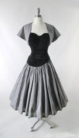 Vintage 50s Strapless Gingham Dress & Matching Bolero Set M