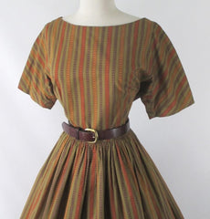 Vintage 50's 60's Autumn Stripe Full Skirt Day Dress L - Bombshell Bettys Vintage