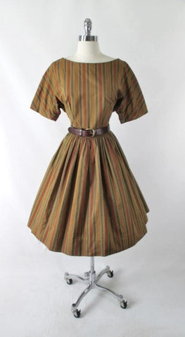 Vintage 50's 60's Autumn Stripe Full Skirt Day Dress L