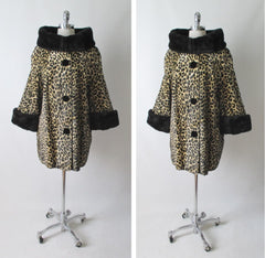 Vintage 50's 60's Glam Faux Leopard Fur Swing Coat Jacket XL XXL - Bombshell Bettys Vintage