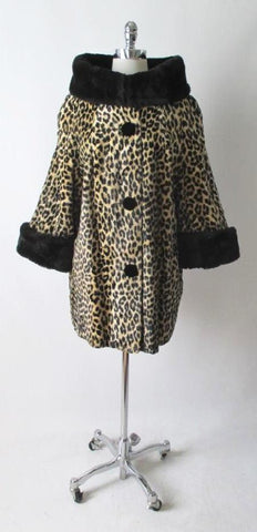 Vintage 50's 60's Glam Faux Leopard Fur Swing Coat Jacket XL XXL