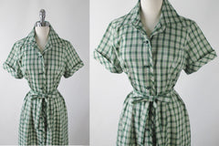 Vintage 50's 60's Green Plaid Casual Day Dress L / XL - Bombshell Bettys Vintage