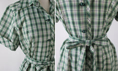 • Vintage 50s 60s Green Plaid Casual Day Dress L / XL - Bombshell Bettys Vintage
