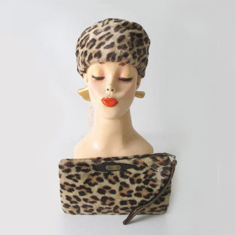 Vintage 50's 60's Leopard Pillbox Hat & Matching Handbag Clutch Purse Set New / Old Stock