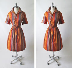 Vintage 60's 50's Ombre Stripe Shirtwaist Full Skirt Day Dress M - Bombshell Bettys Vintage