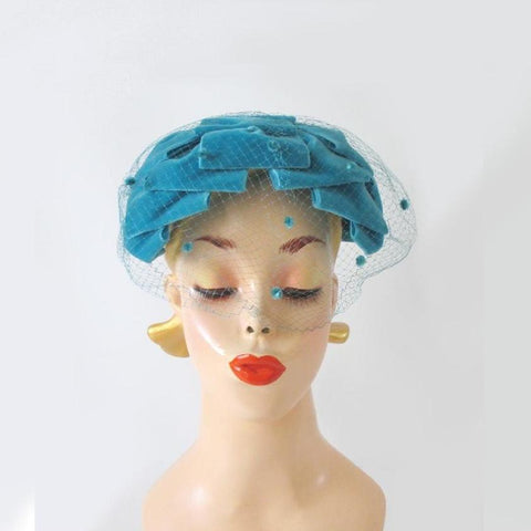 Vintage 50's Teal Blue Velvet Veil Bow Hat & Original Box