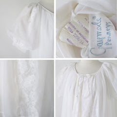 Vintage 50s White Chiffon Baby Doll Nightie Night Gown & Robe Set M - Bombshell Bettys Vintage