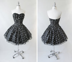 Vintage 80's / 50's Look Black White Polka Dot Sheer Full Skirt Party Dress S - Bombshell Bettys Vintage