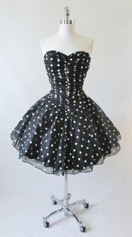 Vintage 80's / 50's Look Black White Polka Dot Sheer Full Skirt Party Dress S