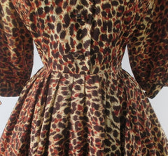 Vintage 50s Leopard Print Full Skirt Party Dress S - Bombshell Bettys Vintage