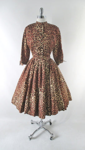 Vintage 50s Leopard Print Full Skirt Party Dress S