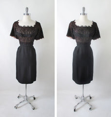 Vintage 50's H. Liebes Black Lace Evening Cocktail Party Sheath Dress M - Bombshell Bettys Vintage