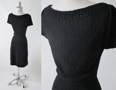 Vintage 50's Kimberly Knit Black Bouclé Sheath Sweater Dress M - Bombshell Bettys Vintage