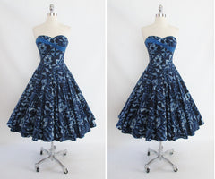 Vintage 50's Lurline Blue Sash Hawaiian Full Swing Skirt Dress S - Bombshell Bettys Vintage