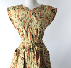 Vintage 50's Swirl Wrap Dress Kitchenware Novelty Print M - Bombshell Bettys Vintage