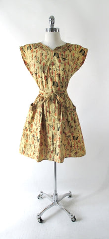 Vintage 50's Swirl Wrap Dress Kitchenware Novelty Print M
