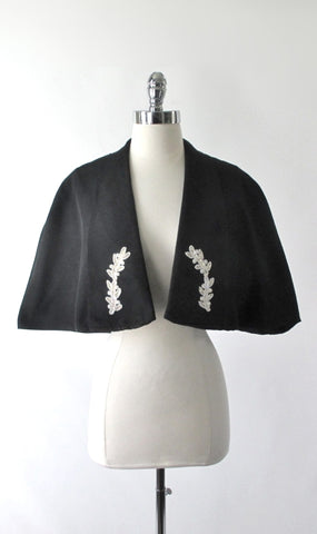 Vintage 50's Black Faille Sequins Capelet One size