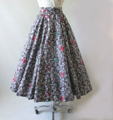 Vintage 50's Abstract Yellow Aqua Red Full Circle Skirt S - Bombshell Bettys Vintage