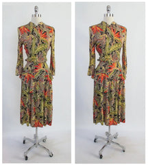• Vintage 50's 40's Look Bird Of Paradise Tropical Hawaiian Peplum Dress S - Bombshell Bettys Vintage