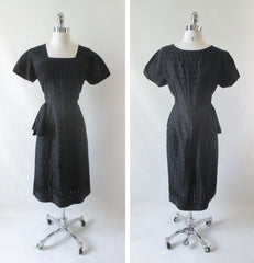 Vintage 50's Black Eyelet Sheath Dress L  • As Found • - Bombshell Bettys Vintage