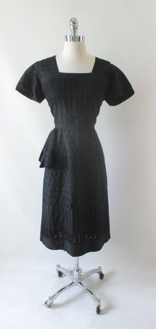 Vintage 50's Black Eyelet Sheath Dress L  • As Found •