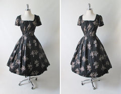 Vintage 50's 60's Black Gold Hawaiian Print Full Skirt Party Dress M - Bombshell Bettys Vintage