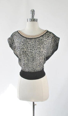 Vintage 50's Pearl Collar Black Lace Knit Sweater Top L