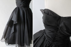 Vintage 50's Black Organdy Strapless Petal Bust Party Dress - Bombshell Bettys Vintage