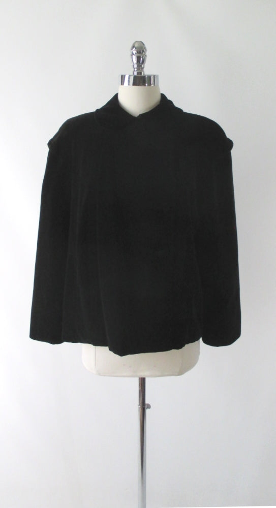 Vintage 50's Black Velvet Cropped Swing Jacket / Coat L - Bombshell Bettys Vintage